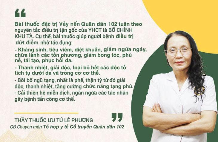 Bác sĩ Lê Phương chia sẻ về cơ chế điều trị của bài thuốc chữa Vảy nến Quân dân 102