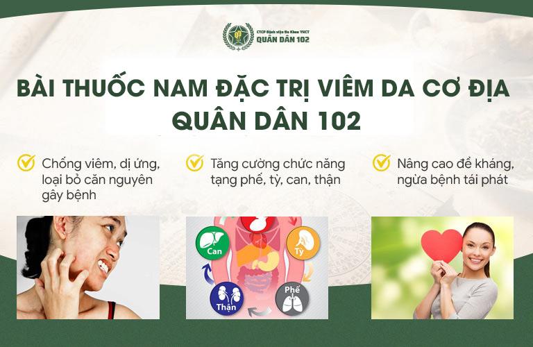 Công dụng của bài thuốc đặc trị viêm da cơ địa Quân dân 102