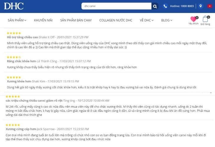 Người dùng phản hồi tích cực trên chính trang chủ thương hiệu DHC Việt Nam