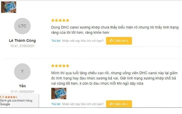 Đáng giá tích cực của người dùng về canxi DHC