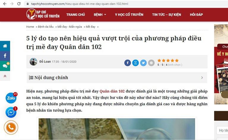 Bài viết về phương pháp điều trị mề đay Quân dân 102 trên Tạp chí y học cổ truyền