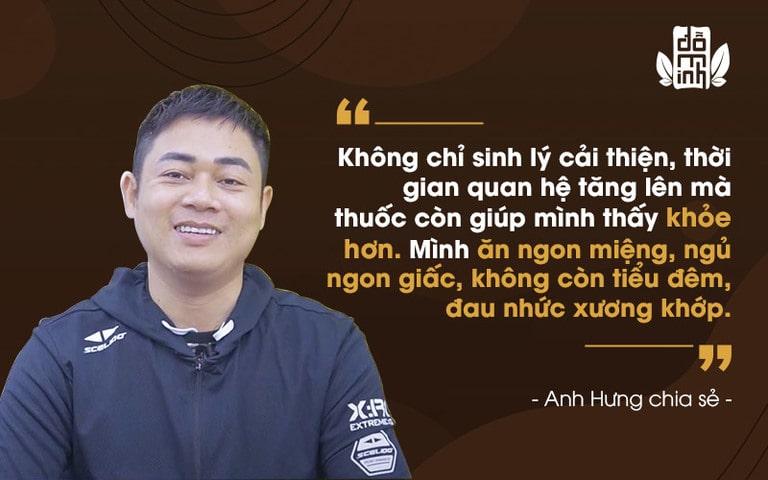 Anh Hưng chia sẻ về hiệu quả bài thuốc chữa yếu sinh lý bằng Đông y của Đỗ Minh Đường