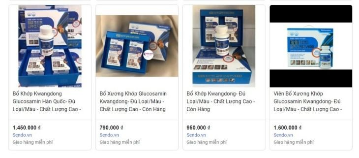 Viên uống Glucosamine nhập khẩu Hàn Quốc có giá khoảng 1.000.000 - 1.500.000 VNĐ/ 2 hộp 180 viên