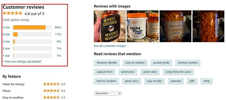 Đánh giá chung về sản phẩm Vitamin C Puritan's Pride trên amazon