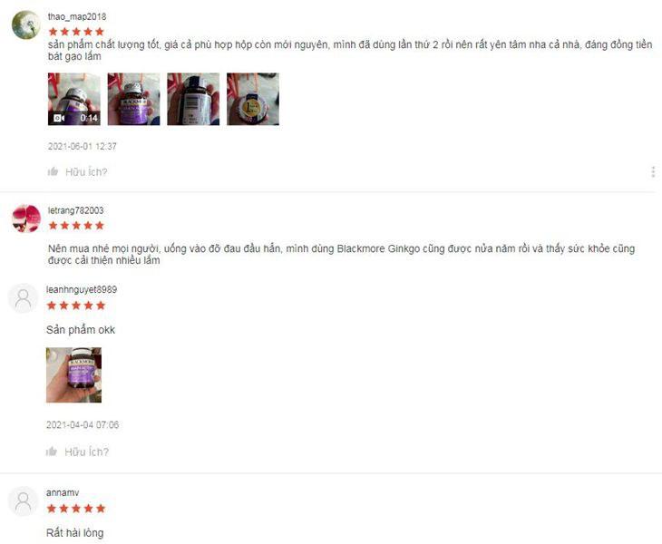 Một số đánh giá của người dùng sau khi sử dụng viên uống bổ não của Blackmore