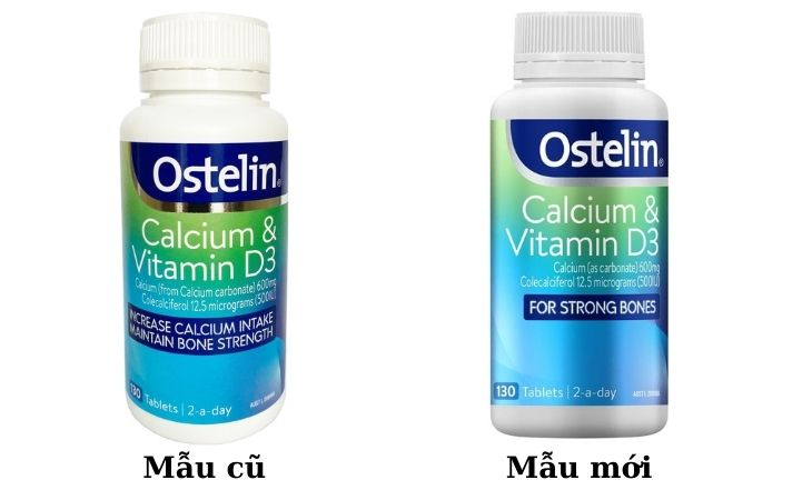 Ostelin Calcium & Vitamin D3 mẫu cũ và mẫu mới