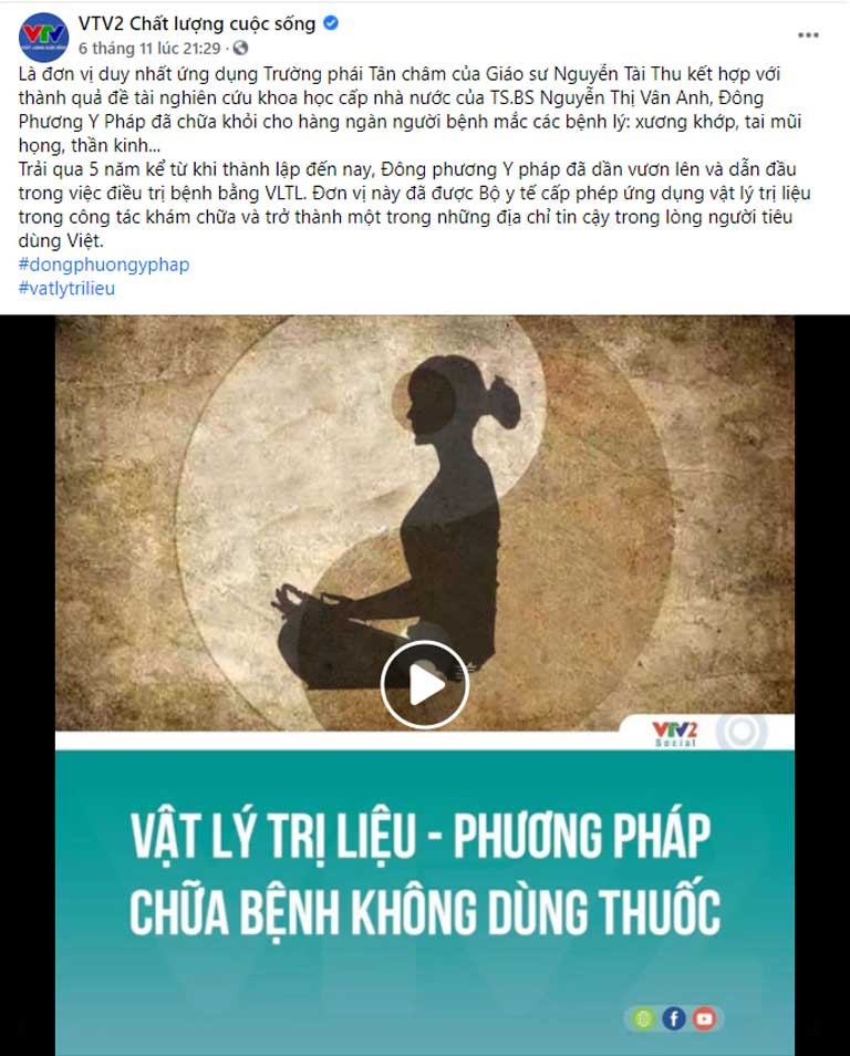Đông phương Y pháp được VTV2 giới thiệu đến đông đảo người dân