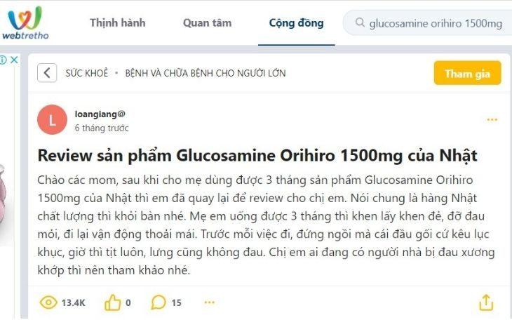 Bài viết review của người dùng Glucosamine Orihiro 1500mg