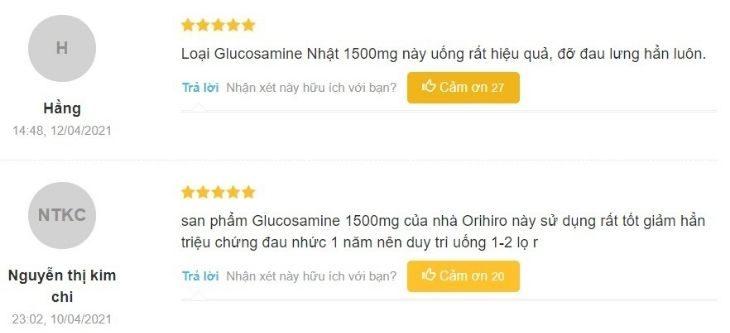 Viên uống Glucosamine Orihiro 1500mg nhận về nhiều phản hồi tích cực