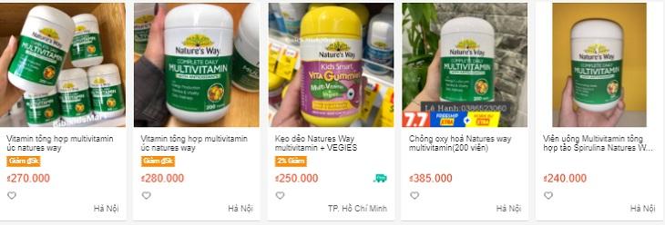 Giá bán Nature's Way Multivitamin có sự chênh lệch nhau giữa các cơ sở kinh doanh