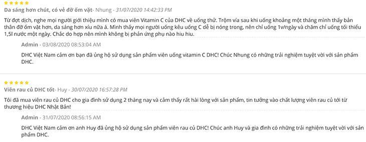 Đánh giá từ người dùng khi sử dụng viên uống vitamin C DHC Nhật Bản