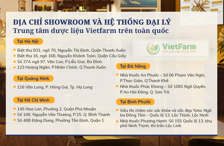 Hệ thống các cửa hàng trên toàn quốc của Trung tâm Vietfarm