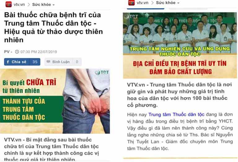 Báo chí đánh giá rất tốt bài thuốc trị trĩ của Trung tâm Thuốc dân tộc