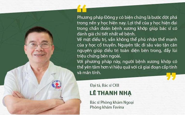 Bác sĩ Lê Thanh Nhạ nhận định hiệu quả điều trị bệnh xương khớp