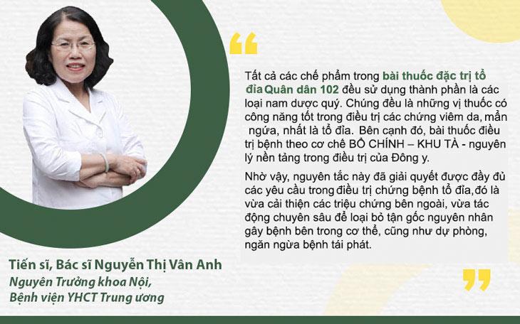 TS. BS Nguyễn Thị Vân Anh đánh giá về bài thuốc chữa Tổ đỉa Quân dân 102