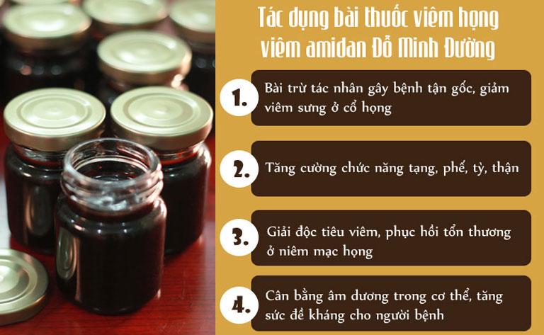 Các tác dụng chính của bài thuốc viêm amidan Đỗ Minh Đường