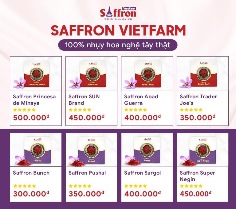 Saffron Vietfarm phân phối 8 loại nhụy hoa nghệ tây thượng hạng