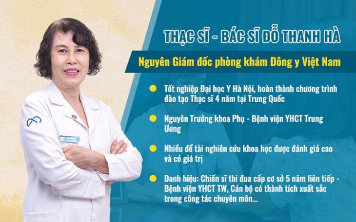 Bác sĩ Đỗ Thanh Hà là chuyên gia hàng đầu điều trị viêm lộ tuyến cổ tử cung bằng Y học cổ truyền