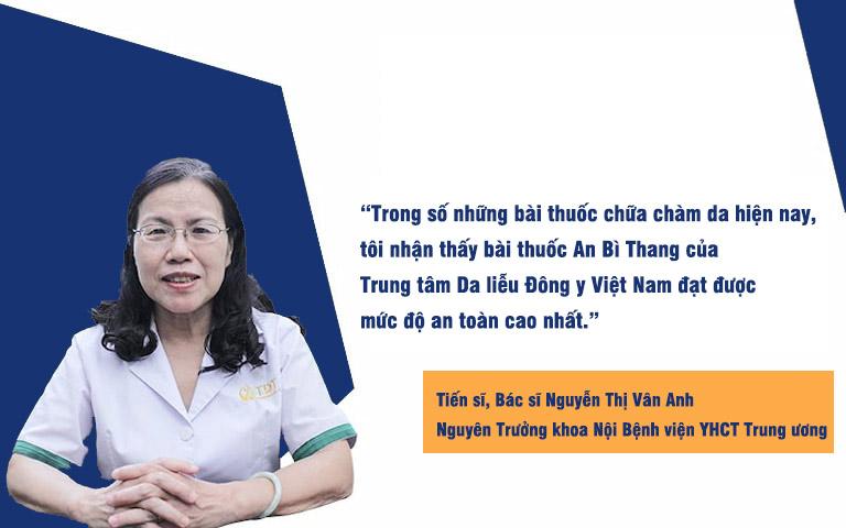 Tiến sĩ, Bác sĩ Nguyễn Thị Vân Anh đánh giá cao tính an toàn của bài thuốc An Bì Thang trong điều trị chàm da
