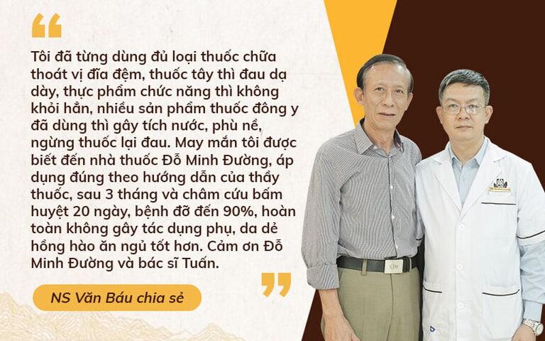 NSƯT Văn Báu chữa khỏi thoát vị đĩa đệm nhờ Đỗ Minh Đường