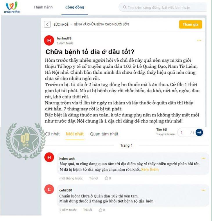 Chia sẻ của người dùng trên diễn đàn webtretho