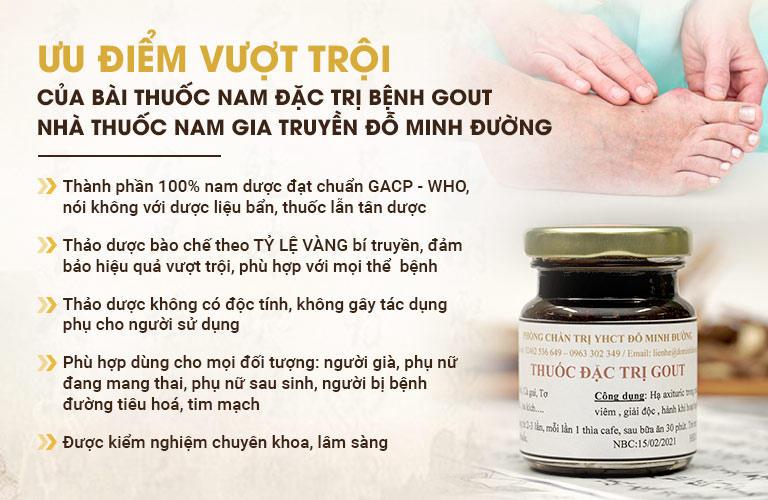 Ưu điểm bài thuốc Gout Đỗ Minh