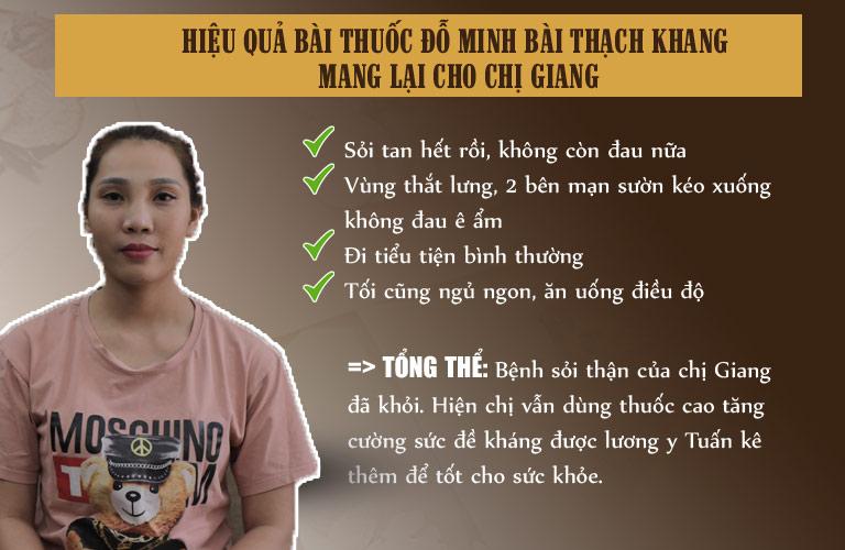Hiệu quả bài thuốc Đỗ Minh Bài Thạch Khang mang lại cho chị Giang