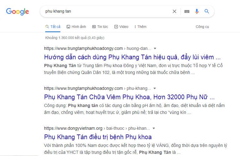 Từ khóa Phụ Khang Tán có hơn 1 triệu kết quả trả về trên Google