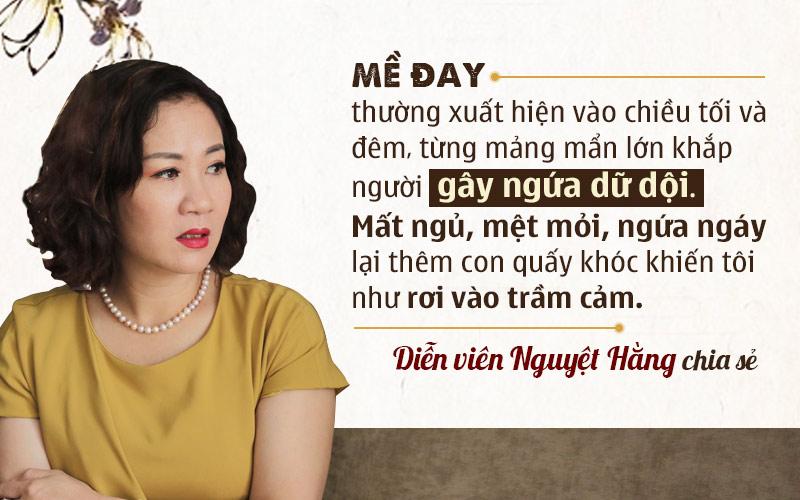 Diễn viên Nguyệt Hằng bị nổi mề đay sau sinh
