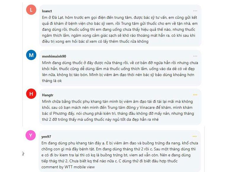 Chị em chia sẻ về Phụ Khang Tán trên webtretho