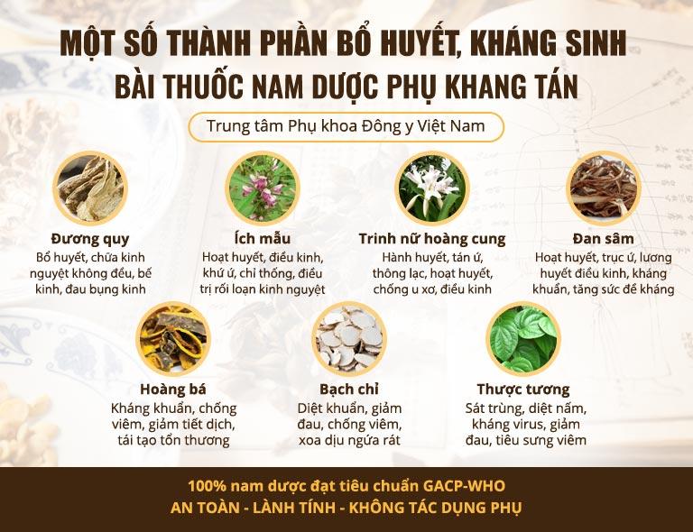 Phụ Khang Tán sử dụng nhiều thảo dược Bổ huyết, kháng sinh