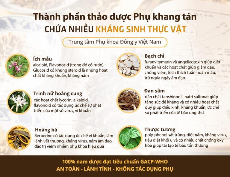 Phụ Khang Tán sử dụng nhiều vị thảo dược kháng sinh thực vật