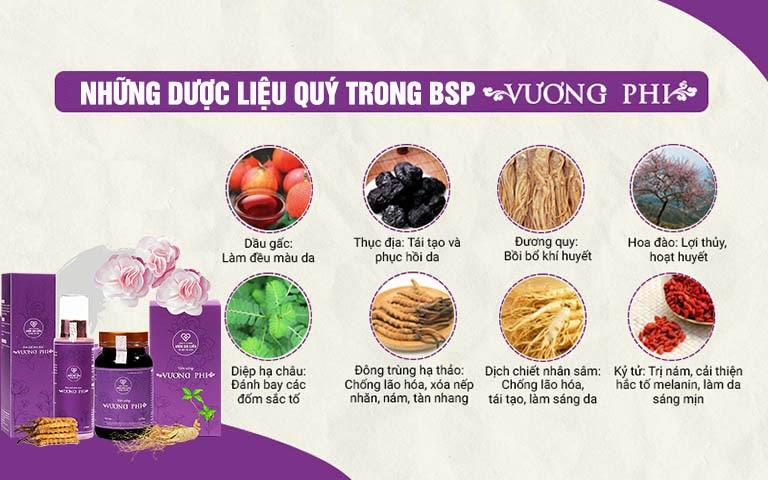 Thành phần thảo dược hảo hạng, sạch, chuẩn an toàn trong bộ sản phẩm Vương Phi