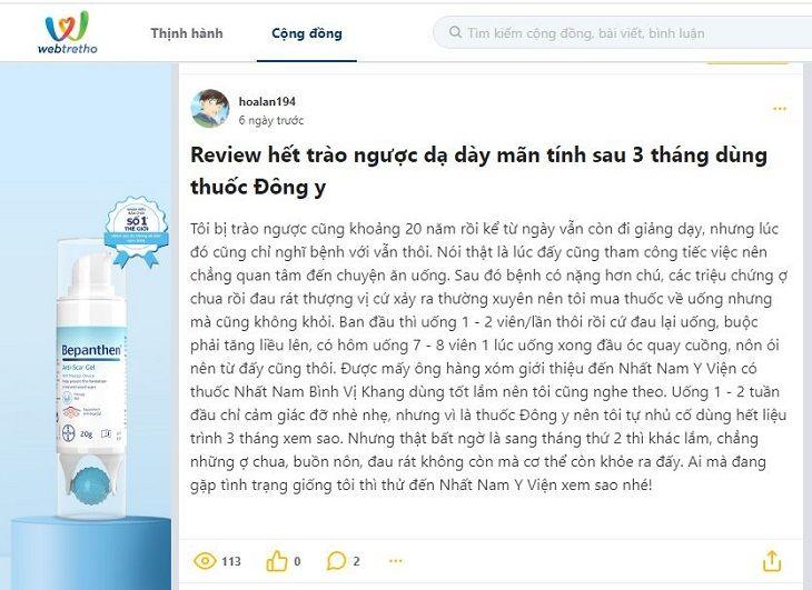 Review của tài khoản hoalan194 về bài thuốc Nhất Nam Bình Vị Khang