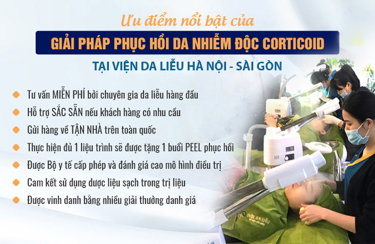 Giải pháp điều trị phục hồi da nhiễm Corticoid của Viện Da liễu Hà Nội - Sài Gòn nổi bật với nhiều ưu điểm vượt trội