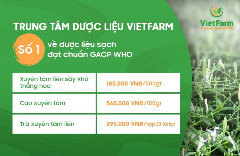 Bảng giá các sản phẩm từ xuyên tâm liên Vietfarm