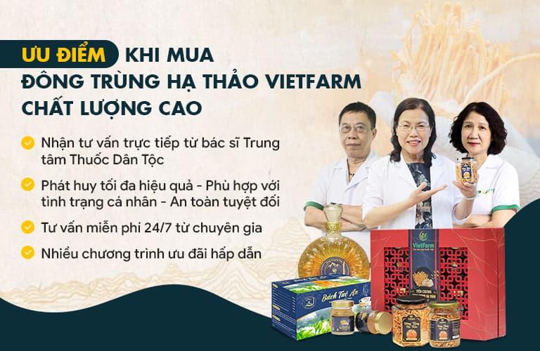 Người dùng nhận được nhiều quyền lợi khi mua hàng tại Đông trùng hạ thảo Vietfarm