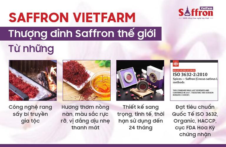 Saffron Vietfarm sở hữu những ưu điểm nổi trội hơn hẳn những sản phẩm khác trên thị trường