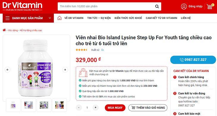 Trên Dr.Vitamin, Bio Island Lysine Step Up For Youth có giá 329.000 đồng