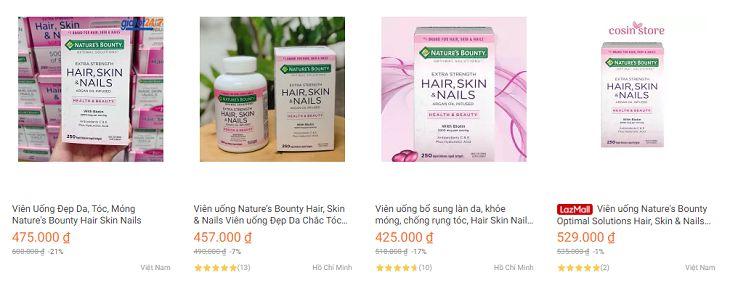 Nature's Bounty Hair Skin And Nails được bán trên thị trường với nhiều mức giá khác nhau