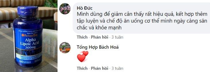 Phản hồi về Puritan's Pride Alpha Lipoic Acid 300mg trên Facebook