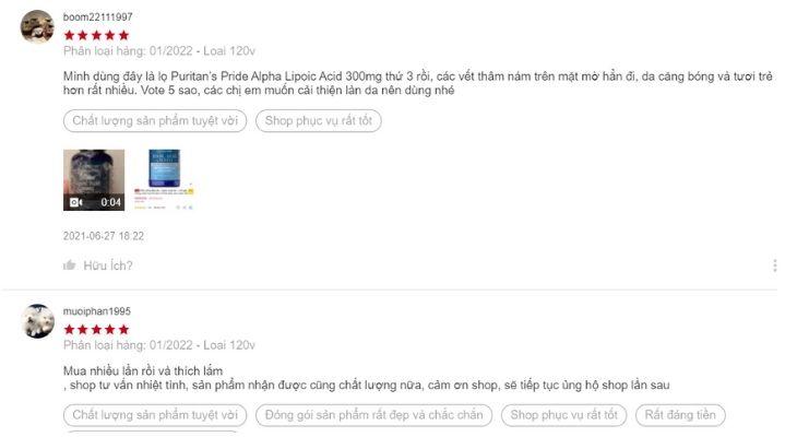 Người dùng trên Shopee nói gì về Alpha Lipoic Acid 300mg