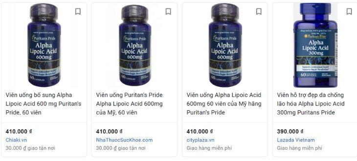 Giá Puritan's Pride Alpha Lipoic Acid 300mg 60 viên