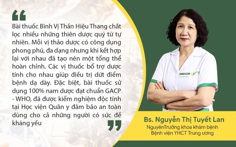 Bác sĩ Nguyễn Thị Tuyết Lan nhận định về bài thuốc Bình Vị Thần Hiệu Thang