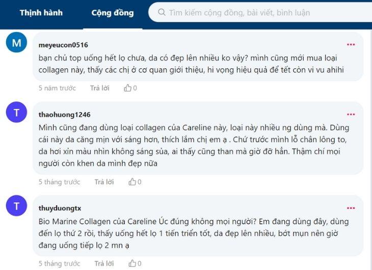Người dùng phản hồi gì về viên uống Bio Marine Collagen trên Webtretho
