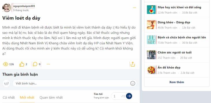 Bệnh nhân hỏi về bài thuốc Nhất Nam Bình Vị Khang trên Webtretho