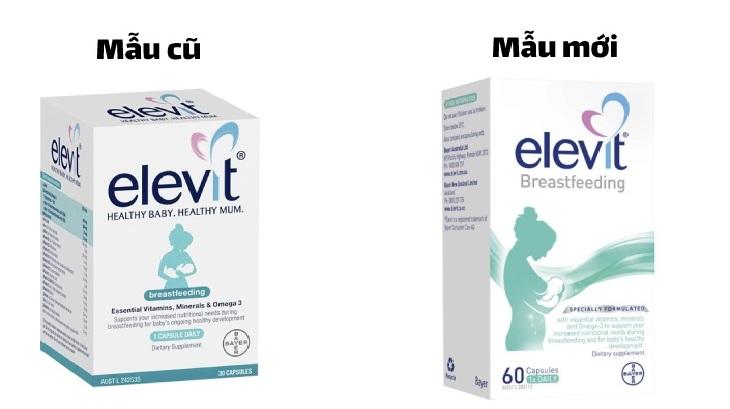 Mẫu cũ và mẫu mới của viên uống Bayer Elevit Breastfeeding