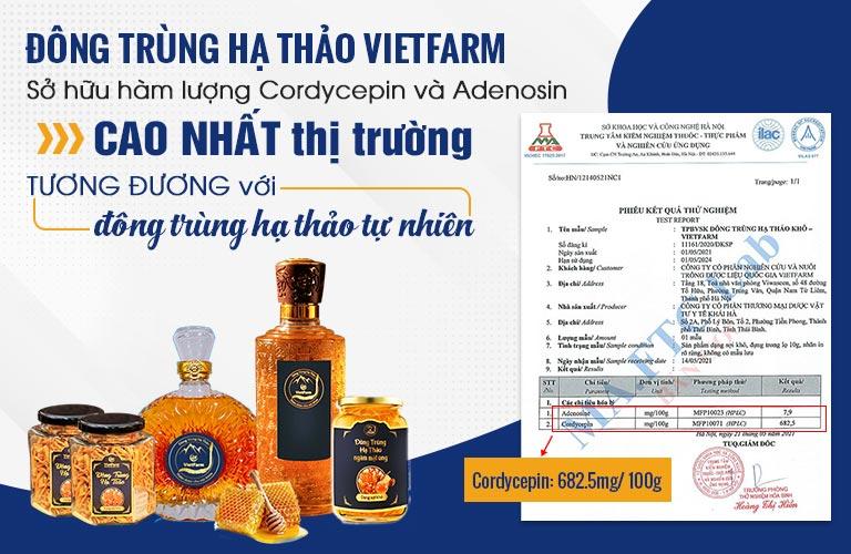 Giấy kiểm định hàm lượng hoạt chất quý của Đông trùng hạ thảo Vietfarm