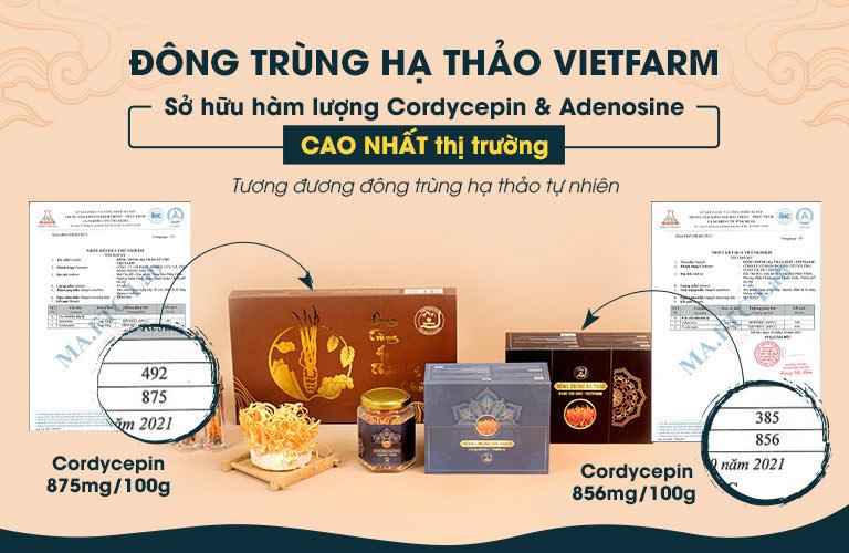 Đông trùng hạ thảo Vietfarm được chứng nhận bởi cơ quan có thẩm quyền