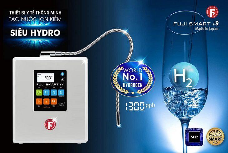 Fuji Smart i9 nằm trong phân khúc máy lọc nước ion kiềm cao cấp tạo ra nước có chỉ số hydro lên đến 1.300ppb.